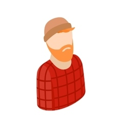 Man with a beard in a hat icon isometric 3d style vector