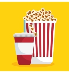 Pop corn soda straw food cinema vector