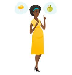 Pregnant woman choosing between cupcake and apple vector