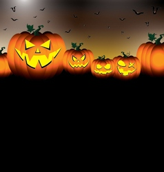Pumpkin set scary face of Happy Halloween on black vector image