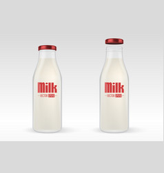 realistic closed and open full glass milk vector image vector image