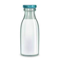 realistic transparent glass milk full bottle vector image vector image