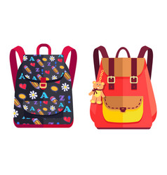 Rucksacks for girl with teddy bear color objects vector