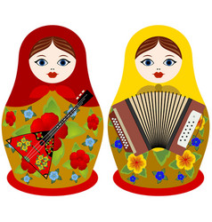 Russian nesting dolls with musical instruments vector