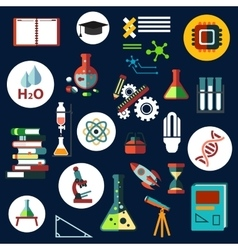 Science flat physics and chemistry icons vector image vector image