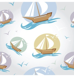 Seamless pattern with ship vector image vector image