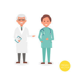 senior man doctor with young man doctor stand vector image