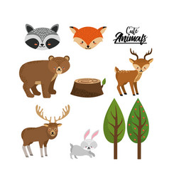 Set cute wild animal with natural trees vector