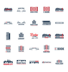 Set of book store logo education and book emblem vector