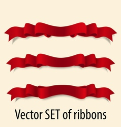 set of red festive ribbons vector image