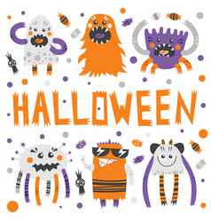 Set of scary but cute halloween monsters vector