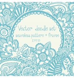 set seamless hand-drawn pattern and frame vector image vector image
