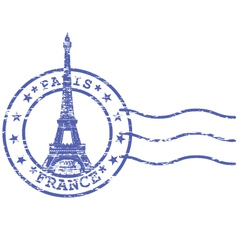 Shabby stamp with Eiffel tower - Sights of Paris vector image
