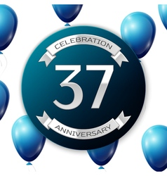 Silver number thirty seven years anniversary vector
