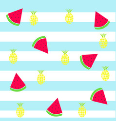 Slice watermelon and pineapple tileable texture vector