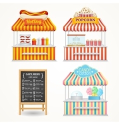 Street food market set vector