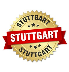 Stuttgart round golden badge with red ribbon vector