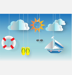 Summertime background with summer icons vector