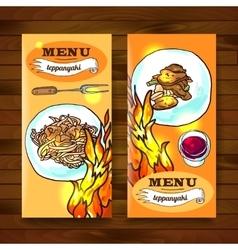 teppanyaki food top view vector image vector image