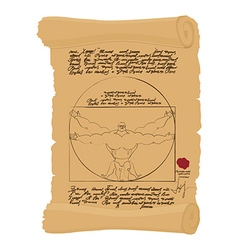 Vitruvian man of leonardo da vinci humorous spots vector