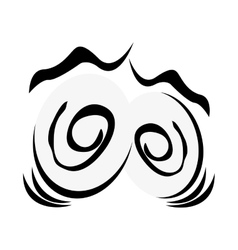Traumatized cartoon eyes icon vector