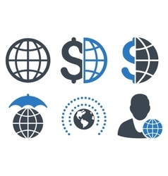 Global business flat icons vector