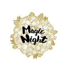 Xmas golden wreath and Magic Night vector image