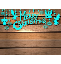 Christmas Card over wood vector image