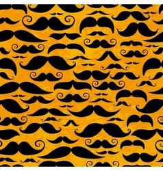 Mustache orange seamless pattern in vintage style vector