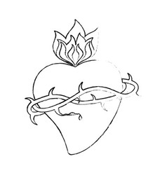 Sacred heart crown thorns sketch vector