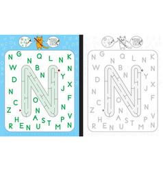 Maze letter n vector