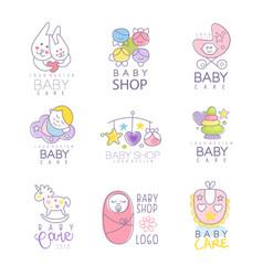 Baby shop set for logo design hand drawn vector