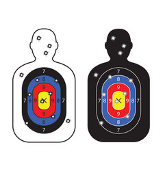 Men paper targets with bullet holes vector
