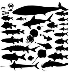 River sea fish food silhouette set marine fish vector