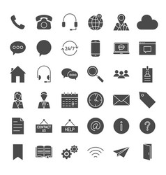 Contact us solid web icons vector