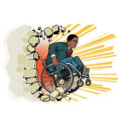 African businessman in a wheelchair disabilities vector