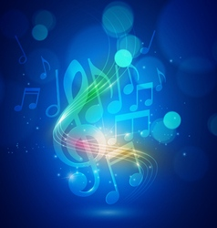 Abstract music notes and bokeh lights blue vector