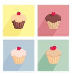 Sweet cupcake flat icon set vector