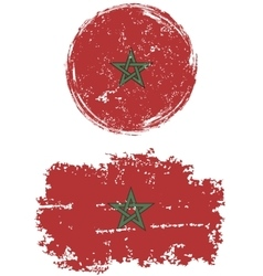 Moroccan round and square grunge flags vector