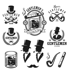 Set of vintage gentlemen emblems and elements vector