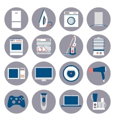 Flat design set icons of home appliances vector