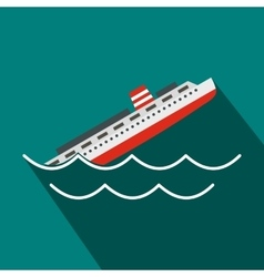 Sinking ship icon flat style vector image