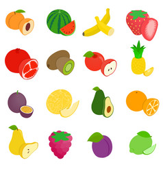 Fruit icons set isometric 3d style vector