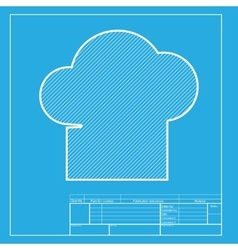 Chef cap sign white section of icon on blueprint vector