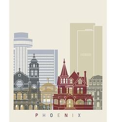 Phoenix skyline poster vector
