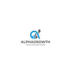 Alpha and growth symbol logo template vector