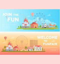 Amusement park - set of modern flat vector