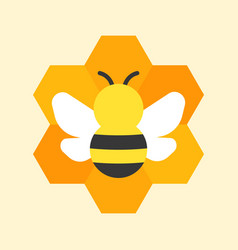 Bee and honeycomb icon vector