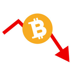 Bitcoin recession chart flat icon vector