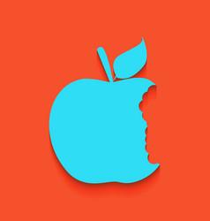 Bited apple sign whitish icon on brick vector